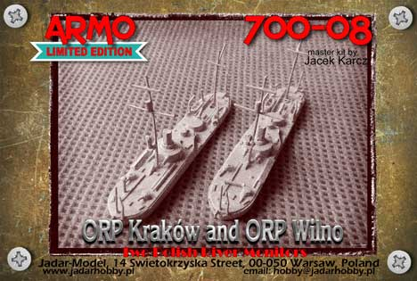 Armo 700-08 1/700 ORP Kraków and ORP Wilno - two Polish River Monitors