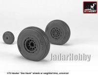 "Armory AR AW72417 1/72 Hawker ""Sea Hawk"" wheels with weighted tires."