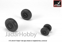 "Armory AR AW72504 1/72 JAS-39 ""Gripen"" wheels w/ weighted tires, late"