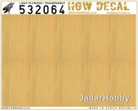 HGW DECAL 532064 1/32 Light Plywood - Transparent (NO GRID)