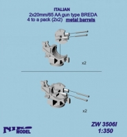 Niko Model ZW3506 1/350 2x20mm/65 AA gun type BREDA (metal barrels) 4(2X2) to a pack