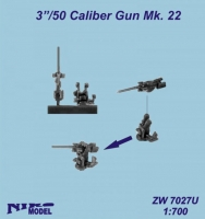 "Niko Model ZW7027 1/700 3""/50 Caliber Gun Mk. 22 (5 to a pack)"