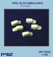 Niko Model ZW7034 1/700 OPEL BLITZ AMBULANCE  (5 to a pack)