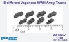 Niko Model ZW7046 1/700 8 different Japanese WWII Army Trucks  (8x1 to a pack)
