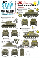 Star Decals 35-C1045 1/35 US in North Africa # 1. 1st Armored Division M4A1 Sherman.