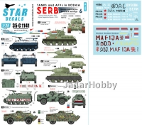 Star Decals 35-C1141 1/35 Tanks & AFVs in Bosnia # 6. Serbian T-34, BRDM-2, M60 PB, TAM-110 truck.