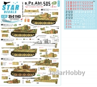 Star Decals 35-C1143 1/35 Schwere Pz.Abt. 505. Early and Mid production Tiger I with 'Bull' marking.