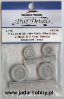 True Details 48038 P-61 or B-26 (late) Wheel Set, Diamond Tread (1/48)